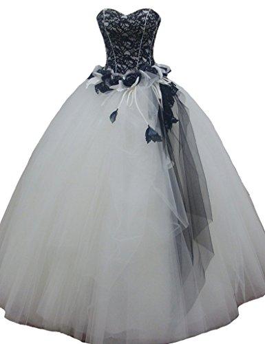 ivory and black lace wedding dress - 7