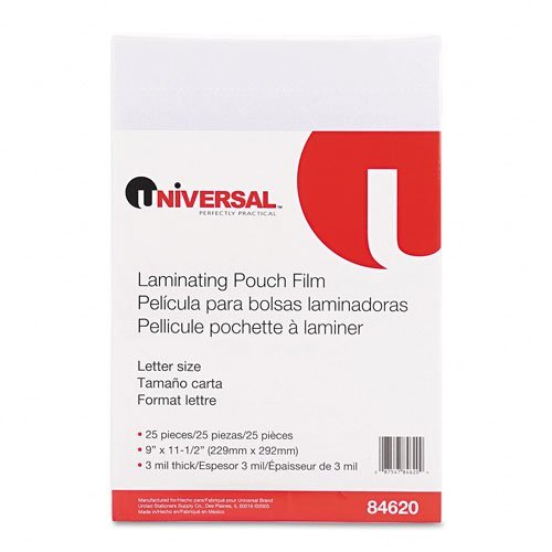 Universal 84620 Clear Laminating Pouches, 3 mil, 9 x 11 1/2, 25/Pack