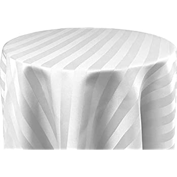 70 X 144 Inch OVAL Tablecloth, Polystripe   ULTRA WIDE, White