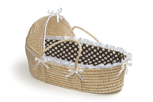 New Badger Basket Moses Basket with Polka Dot Hood and Bedding, Natural/Brown