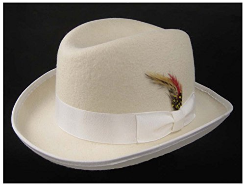 [Godfather Fedora Hat with Feather (Large 23.5 in. / 59.5 cm., Ivory)] (Pimp Hat With Feather)