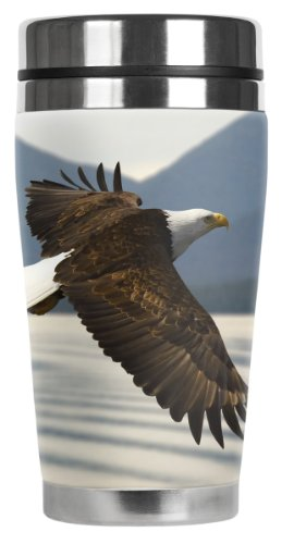 Mugzie Flying Eagle Travel Mug with Insulated Wetsuit Cover, 16 oz, Black