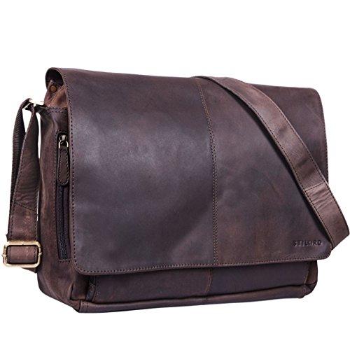 STILORD 'Alex' Bolso de mensajero o bandolera de piel para hombre y mujer Maletín o bolsa de hombro estilo vintage para portátil de 15.6' de cuero auténtico, Color marrón oscuro - opaco Marrón Oscuro - Opaco