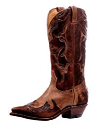 Boulet Western Boots Womens Snip Toe Cowboy Straps Damasko Taupe 6610