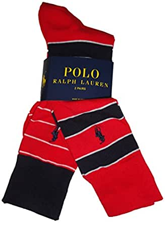Polo by Ralph Lauren Men's Socks Red/Navy Striped (pack of