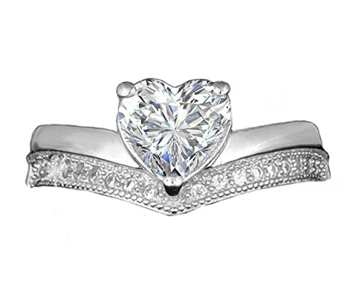 Realistic Brilliant Heart Shaped Simulated Diamond Ring Pave Double Band Design 925 Silver heart8