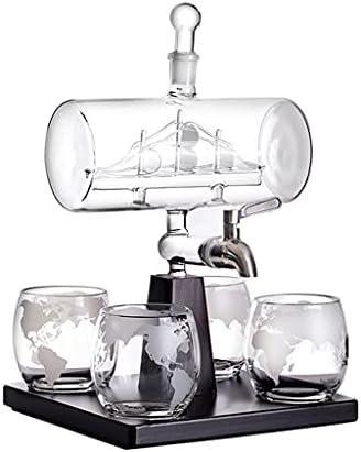 Decantador de Botellas de Vino Tinto con Forma de Barco Antiguo Creativo decantador de Vidrio de Whisky con 4 Tazas decantador de Botellas de Vino