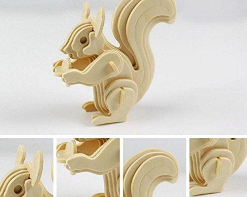 Huayer Divertido, Educativo y Seguro. Rompecabezas Creativo de Madera 3D Juguete Animal de Aprendizaje temprano niños (Ardilla)