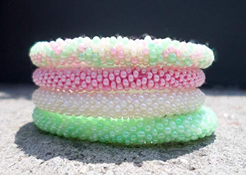 Tutti Fruity Set of Four Crocheted Seed Beads Bracelet, Handmade in Nepal, Mint Green, Baby Pink, Cream,BS9