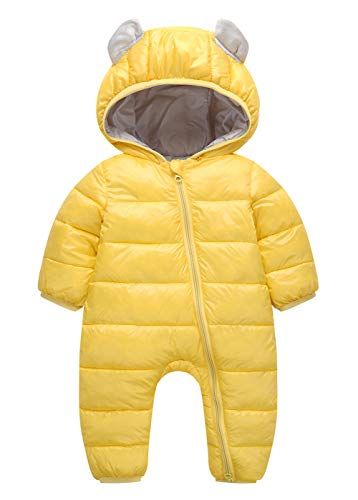 Happy Cherry 100% Down Cotton Baby Romper Baby Winter Coat Zipper Long Sleeve Cute Baby Snowsuit for 3-9 Months Yellow ()
