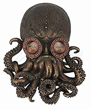 Steampunk Octopus Wall Plaque Sculpture,Bronze 3