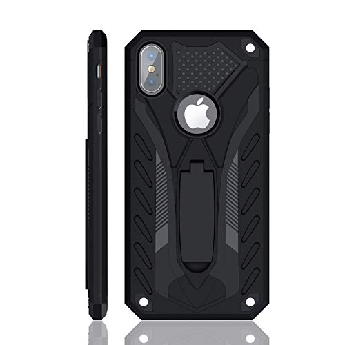 iPhone X/iPhone Xs Case, Military Grade 12ft. Drop Tested Protective Case with Kickstand, Compatible with Apple iPhone X/iPhone Xs - Black