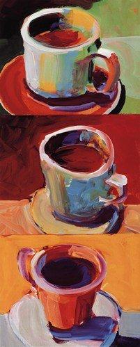 Three Cups o' Joe II by Robert Burridge - 8x20 Inches - Art Print Poster