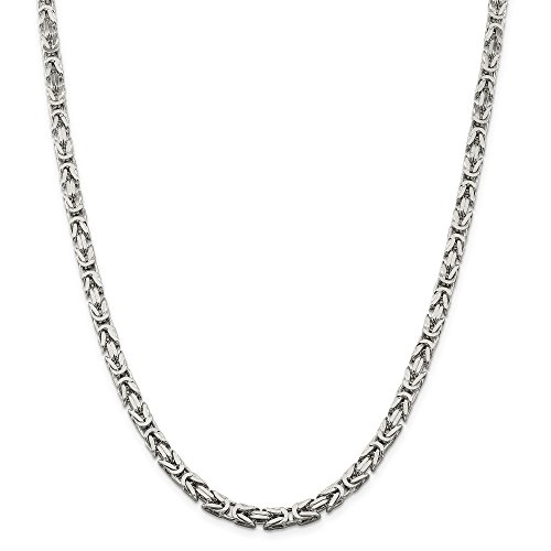 ICE CARATS 925 Sterling Silver 5mm Square Link Byzantine Necklace Chain Fine Jewelry Gift For Women Heart by ICE CARATS