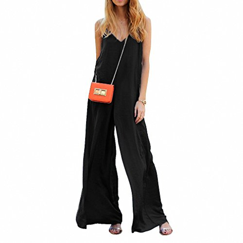 Women Sleeveless Wide Leg Jumpsuit Loose Sexy V Neck Long Playsuit Celeb Fashion Summer Casual Plus Size No package Black L