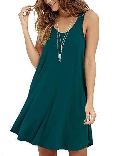 VIISHOW Women Sleeveless Casual Loose Tshirt Dresses,Dark Green,Large