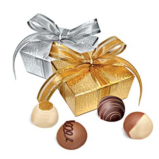 4 Piece Truffle Box (white) with Holiday Ribbon - 50 Pieces by VARDA