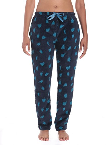 Women's Coral Fleece Plush Lounge Pants - Snow Leopard - Navy/Teal - 3XL (Pants Lounge Leopard)