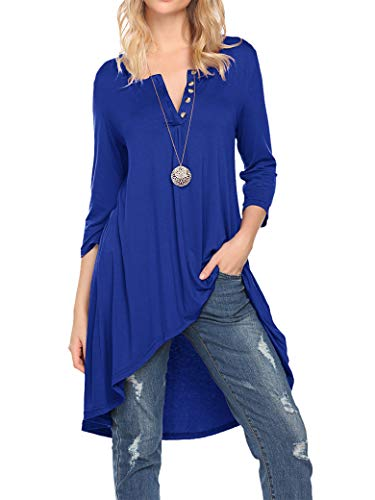 Naggoo Women's Half Sleeve High Low Loose Fit Casual Tunic Tops Tee Shirt Dress (XL, Royal Blue)
