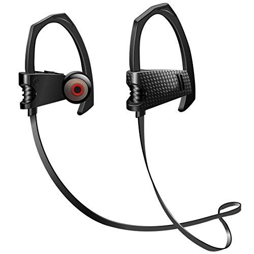 Bluetooth Headphones, Wireless Headset V4.1 Heavy Bass Stereo Heavy Bass In Ear Earbuds Noise Isolating Waterproof Sports Earphones with Mic - (Black)