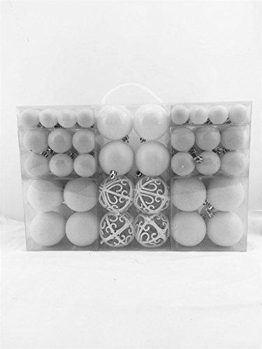 100 Weihnachtskugel Weiss glänzend glitzernd matt Christbaumschmuck bis Ø 6 cm Baumschmuck Weihnachten Deko Anhänger