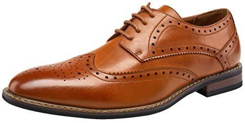 (JOUSEN Men's Oxford Classic Wingtip Brogue Formal Dress Shoes (9.5,Brown))