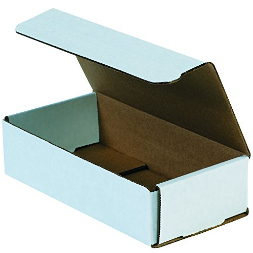 - Boxes Fast BFM842 Corrugated Cardboard Mailers, 8 x 4 x 2 Inches, Tuck Top One-Piece, Die-Cut Shipping Cartons, Medium White Mailing Boxes (Pack of 50)