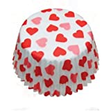 72x Eddington Medium Paper Baking Cup Cake Cupcake Muffin Cases White Red Hearts