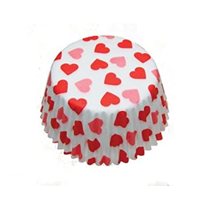 Scrumptious White with red Hearts Cupcake x 36 Cases