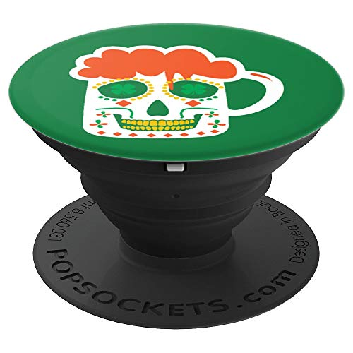 (Sugar Skull Beer Mug St. Patrick's Day Irish Parade Lover - PopSockets Grip and Stand for Phones and)