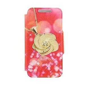 YULIN kinston inferior patrón de pasta de diamante de la flor de oro rojo de la PU cuero caso de cuerpo completo con soporte para el iPhone 6 Plus