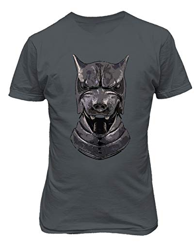 TMB Apparel New Novelty Shirt of Thrones Shirt Distressed Hounds Helm Men's T-Shirt (Gray, -