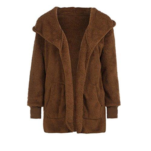 Casual Hiver C Fourrure Fausse Gilet Veste Hoodie Up Marron Manteau Chaud FNKDOR Outwear Sherpa Zip Womens 6wqBzEY