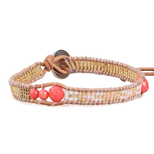KELITCH Pink Coral Bead, Gold-Plated Seed Beaded Woven Single Wrap Bracelet ()