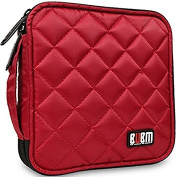 32 Capacity CD / DVD Wallet, 230D Space Twill Cover, Various Colors - Red