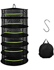 Herb Drying Rack, 2/4/6/8 Layer 2ft Mesh Dry Net Hanging Net Dryer for Garden Hydroponic Plant and Herb Seeds with 1pc S Hang Buckle and 1pc Storage Bag