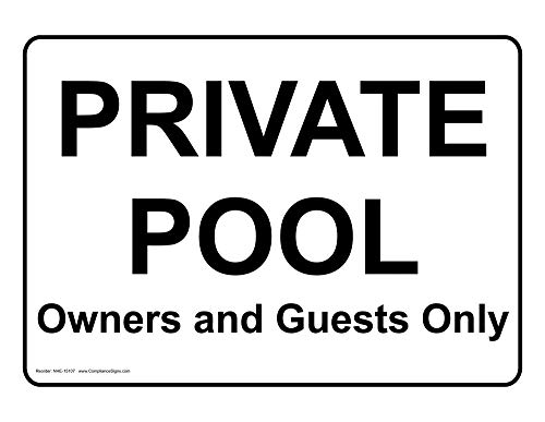 metal Signs Aluminum Swimming Pool/Spa Sign, 10 x 4 in. with English Text, White