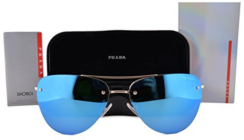 Prada Gold Lens (Prada PS53RS Sunglasses Pale Gold w/Blue Green Mirror Lens ZVN5M2 SPS 53R)