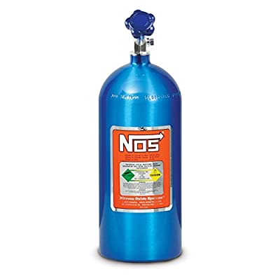 NOS 14745NOS Electric Blue 10-pound Aluminum Nitrous Bottle with Hi-Flow Valve