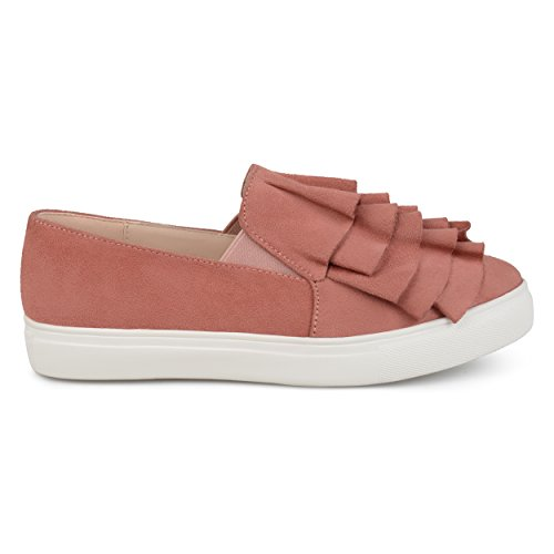 Brinley Co. Womens Faux Suede Slip-on Ruffle Sneakers Mauve, 7.5 Regular ()
