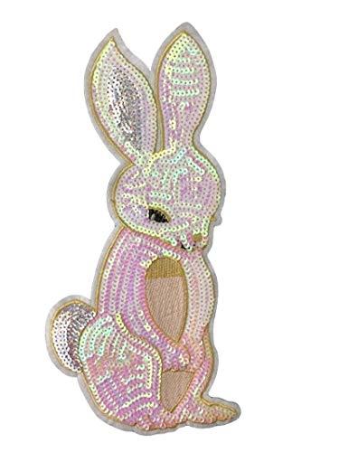 Bunny Rabbit Applique - Large Iridescent Pink Sequin Bunny Applique