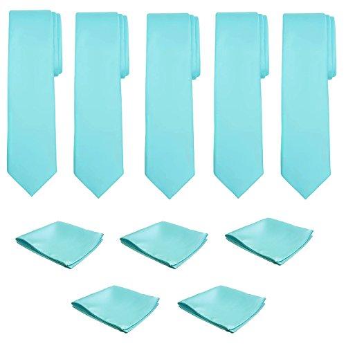 Mens Necktie Pocket Square 10 Pcs Set Solid Color Tie and Handkerchief for Wedding (Seafoam)