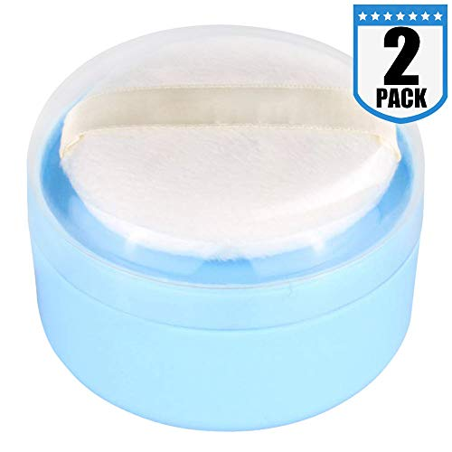 Onwon 2 Pieces Baby After-Bath Puff Box Empty Body Powder Container Dispenser Case with Sifter and Powder Puffs for Home and Travel Use