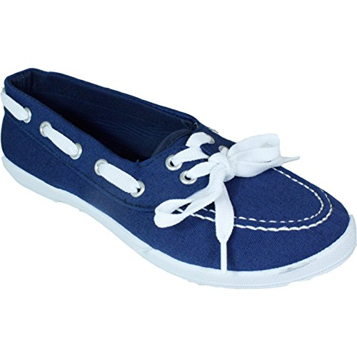 P-7205 Scarpe Da Barca Da Donna Su Tela Appartamenti Mocassini Oxford Lace Up Denim Tennis Fashion Deck Sneakers Casual 10 Colori Disponibili Blu