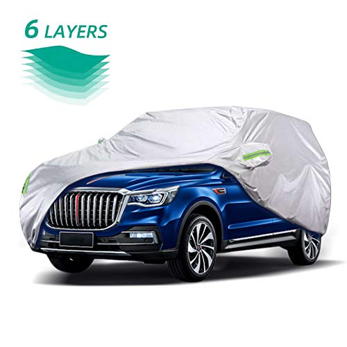 WOKOKO Car Cover, Waterproof SUV Car Covers 6 Layers All Weather UV Protection Windproof Snow-Proof Dust-Proof Scratch Resistant Universal Full Car Cover Fit for SUV, Sedan, Jeep, XL(190''-201'') (Best Minivan For Snow 2019)