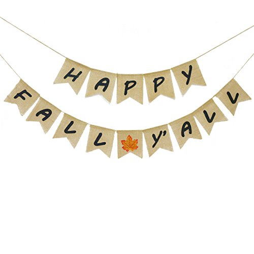 Happy Fall Y'all Banner Burlap | Fall Banner | Fall Decor | Fall Decorations | Fall Party Decorations | Thanksgiving Decoration]()