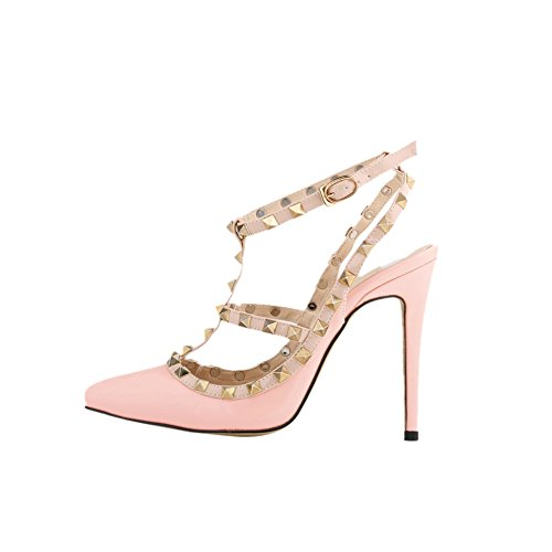 fereshte Women's High Heel Pointed Toe Ankle Strap Stiletto Sandals Pink AnxkM