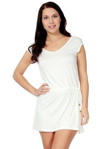 Simplicity Sleeveless Beach Dress W/ a Low Back and Drawstring Waist, White