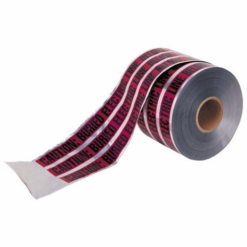 Ideal 42-201 Detectable Underground ''Caution Buried Electric Line Below'' Tape, 3'' x 1, 000' Size, Red