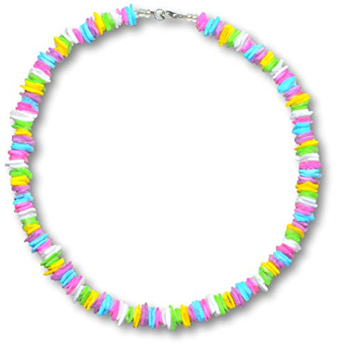 Native Treasure - 16 inch Pastel Rainbow Colored Clam Chips Puka Shell Necklace Lobster Clasp (16)